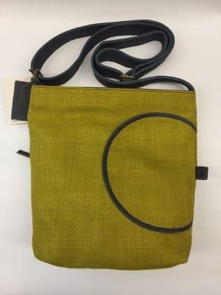 תיק נשים מבד משולב עור דגם כיס עגול 6024